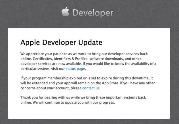 iOS Dev Centerが落ちてますよの画像